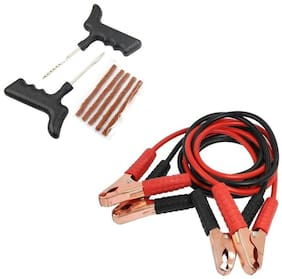 De Autocare Emergency Kit of 2 in 1 Set of Car Battery Booster Starter Jumper Cable With Tubeless Tyre Puncture Kit