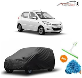 De AutoCare Premium Quality Grey Matty Car Body Cover For Hyundai I10 With Free Microfibre Gloves and Glass Cleaning Wiper