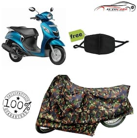 De-Autocare Premium Quality Army Color Junglee Matty Scooty Body Cover For Yamaha Fascino With Free Anti Dust / Pollution Protective Face Mask Nose & Mouth Respirator For Boys & Girls