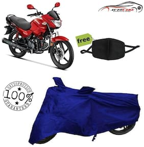 De-Autocare Premium Quality Royal Blue Matty Bike Body Cover For Hero Glamour With Free Anti Dust / Pollution Protective Face Mask Nose & Mouth Respirator For Boys & Girls