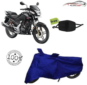 De-Autocare Premium Quality Royal Blue Matty Bike Body Cover For Hero Honda CBZ Xtreme With Free Anti Dust / Pollution Protective Face Mask Nose & Mouth Respirator For Boys & Girls