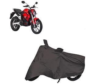 De-Autocare Premium Quality Grey Matty Two Wheeler Bike Body Cover For Revolt Rv400 With Mirror Pockets