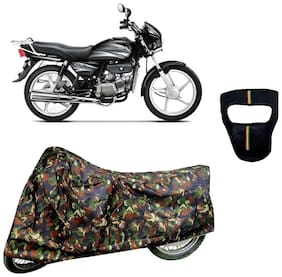 De-Autocare Premium Quality Junglee Matty Bike Body Cover for Hero Splendor Plus With Free Anti Dust / Pollution Protective Big/Full Face Mask For Men & Women