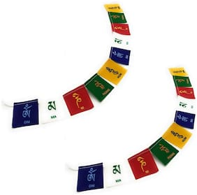 De-Autocare (Set Of 2Pc) Cotton Hanging (Medium Size) Om Mani Padme Hum Tibetan Buddhist Ladakh Prayer Flags For Positive Energy & Protections For Home Door, Car & Motorbikes (Multicolor)