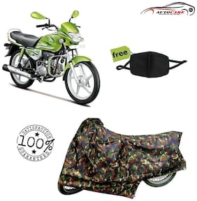 De-Autocare Premium Quality Army Color Junglee Matty Bike Body Cover For Hero HF Deluxe Eco With Free Anti Dust / Pollution Protective Face Mask Nose & Mouth Respirator For Boys & Girls