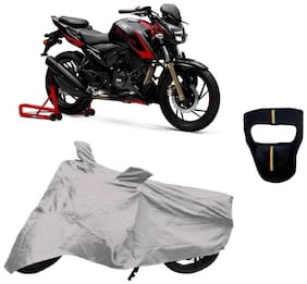 De-Autocare Premium Quality Silver Matty Bike Body Cover for TVS Apache RTR 200 4V With Free Anti Dust   Pollution Protective Big Full Face Mask For Men and  Silver