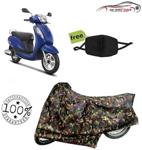 De-Autocare Premium Quality Army Color Junglee Matty Scooty Body Cover For Suzuki access 125 With Free Anti Dust / Pollution Protective Face Mask Nose & Mouth Respirator For Boys & Girls