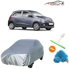 De AutoCare Premium Quality Silver Matty Car Body Cover For Hyundai i10 Grand With Free Microfibre Gloves and Glass Cleaning Wiper