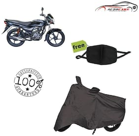 De-Autocare Premium Quality Grey Matty Bike Body Cover For Bajaj Platina ES With Free Anti Dust / Pollution Protective Face Mask Mouth & Nose Respirator For Boys & Girls