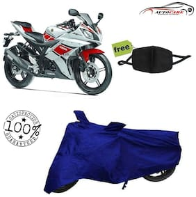 De-Autocare Premium Quality Royal Blue Matty Bike Body Cover For Yamaha R15 With Free Anti Dust / Pollution Protective Face Mask Nose & Mouth Respirator For Boys & Girls