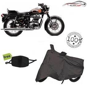 De-Autocare Premium Quality Grey Matty Bike Body Cover For Royal Enfield Bullet With Free Anti Dust / Pollution Protective Face Mask Mouth & Nose Respirator For Boys & Girls