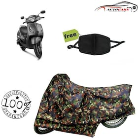 De-Autocare Premium Quality Army Color Junglee Matty Scooty Body Cover For TVS Jupiter With Free Anti Dust / Pollution Protective Face Mask Nose & Mouth Respirator For Boys & Girls