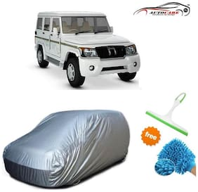 De AutoCare Premium Quality Silver Matty Car Body Cover For Mahindra Bolero With Free Microfibre Gloves and Glass Cleaning Wiper