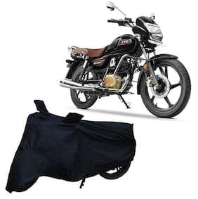 De-Autocare Premium Quality Black Matty Two Wheeler Bike Body Cover For Tvs Radeon With Mirror Pockets