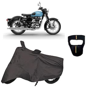 De-Autocare Premium Quality Royal Grey Matty Bike Body Cover for Royal Enfield Classic 350 With Free Anti Dust / Pollution Protective Big/Full Face Mask For Men & Women