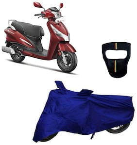 De-Autocare Premium Quality Royal Blue Matty Scooty Body Cover for Hero Duet 125 With Free Anti Dust / Pollution Protective Big/Full Face Mask For Men & Women
