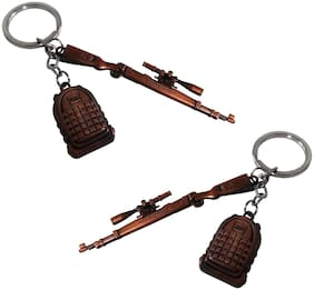 De-Ultimate (Set Of 2 pc) PUBG Theme Players Unknown Battle Grounds Metal Base Synthetic Gun Toy Assault Rifle Kar98 With level 3 Bag Pack Metallic Toy Key Ring/Keychain For Cars & Bikes (Rose-Gold)