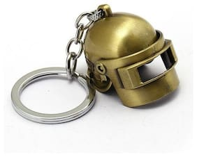 De-Ultimate PUBG Players Unknown Battle Grounds Premium Metal Synthetic PUBG Theme Level 3 Helmet Toy Gaming Head Cap Cosplay Props Armor Model Key Ring/Keychain (Metallic Golden)