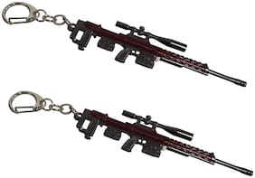 De-Ultimate (Set Of 2 pc) PUBG Players Unknown Battle Grounds Premium Metal Base Synthetic PUBG Theme Gun Toy Assault Rifle AWM Metallic Toy Key Ring/Keychain For Bikes/Scooty & Cars (Maroon & Silver)