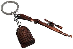 De-Ultimate PUBG Theme Players Unknown Battle Grounds Premium Quality Metal Base Synthetic Gun Toy Assault Rifle Kar98 With level 3 Bag Pack Metallic Toy Key Ring/Keychain For Cars & Bikes (Rose-Gold)
