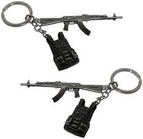 De-Ultimate (Set Of 2 pc) PUBG Players Unknown Battle Grounds Metal Base Synthetic PUBG Theme Gun Toy Assault Rifle AKM With Level 3 Vest Metallic Toy Key Ring/Keychain For Bike/Scooty & Cars (Silver)