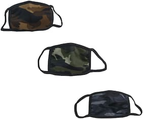 De-Ultimate (Set Of 3) Army/Military Color Anti-Dust Pollution UV Sun Rays Protection Flexible Face Mask Covers Mouth & Nose For Men & Women Heavy-Duty Air-Purifying Filtration Respirator (Free Size)