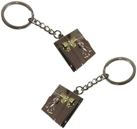 De-Ultimate  Premium Synthetic Metal Base Unisex Couple Photo Album Metallic Toy Key Ring/Keychain For Bikes/Scooty And Cars (Copper) (Set Of 2)