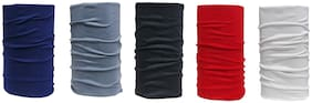 De-Ultimate (Set Of 5 Pcs) Unisex Multi-Purpose And Multi-Functional Lightweight Soft Nylon Seamless Reversible Casual Sun Protection Face Mask/Skull & Beanie Caps/Headwraps/Bandana Band (Multicolor)