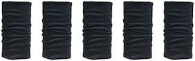 De-Ultimate (Set Of 5) Unisex Multi-Purpose & Multi-Functional Soft Nylon Seamless Reversible Casual Sun Protection Face Mask,Skull & Beanie Caps,Headwraps,Bandana Band (Free Size;Black)