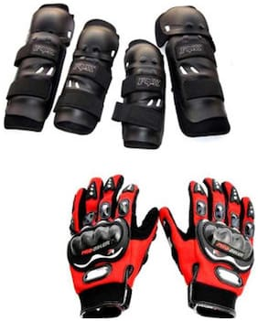 Delhi Traderss Combo Of Fox Motorcycle Elbow And Knee Guard With Probiker Gloves