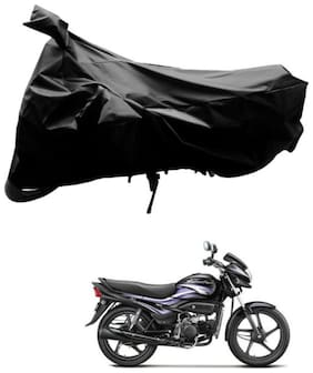 Dh Creation Black Colour Bike Body Cover Dust & Water Resistant With Mirror Pocket & Belt Buckle For Hero Super Splendor