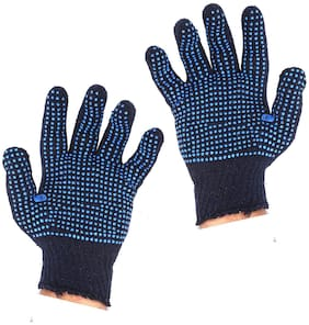 Dotted Cotton Safety Hand Gloves (Blue)-Set of 4 Pair