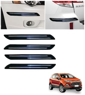 Double Chromestrip Car Bumper Protector (Black)- Ford Ecosport