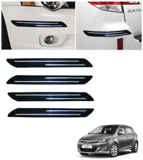 Double Chromestrip Car Bumper Protector (Black)- Hyundai i20