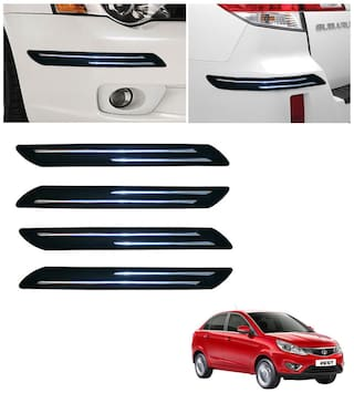 Double Chromestrip Car Bumper Protector (Black)- Tata Zest