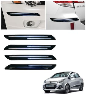 Double Chromestrip Car Bumper Protector (Black)- Hyundai Xcent