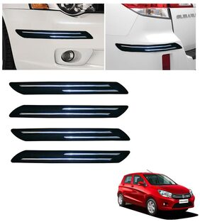 Double Chromestrip Car Bumper Protector (Black)- Maruti Celerio