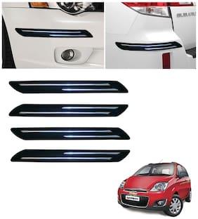 Double Chromestrip Car Bumper Protector (Black)- Chevrolet Spark