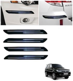 Double Chromestrip Car Bumper Protector (Black)- Tata Safari
