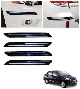 Double Chromestrip Car Bumper Protector (Black)- Honda Amaze