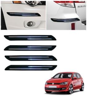 Double Chromestrip Car Bumper Protector (Black)- Volkswagen Polo