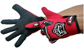 DreamPalace India Outdoor Riding Full Finger Glove For Men Riding Gloves/ Gloves Shockproof Foam Padded (Red)