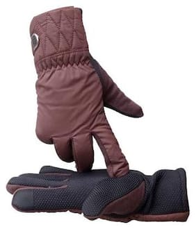 DreamPalace India WINTER RIDING FASHION GLOVE WITN TOUCH SCREEN TECHNOLOGY - FREE SIZE Driving Gloves (Brown)