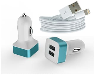 Dual Usb car charger Adapter With Lighting Charging Cable - for iphone ( Assorted color)