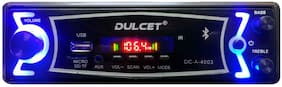 Dulcet DC-A-4003 Double IC High Power Universal Fit Mp3 Car Stereo with Bluetooth/USB/FM/AUX/MMC/Remote & Built-in Equalizer with Bass & Treble Control (A Free 3.5mm Aux Cable)
