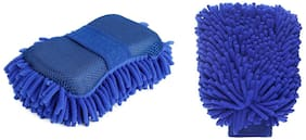 ElectriBles Car/Bike Wash Cleaning Combo   Premium Chenille Microfiber Car Wash Sponge and Microfiber Gloves - Pack of 2