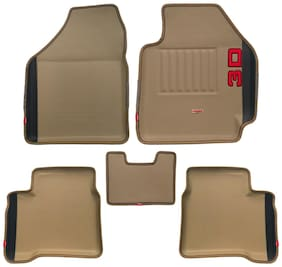 Elegant 3D Diamond Beige and Black Car Mats for Ford EcoSport(Set of 5 pc)