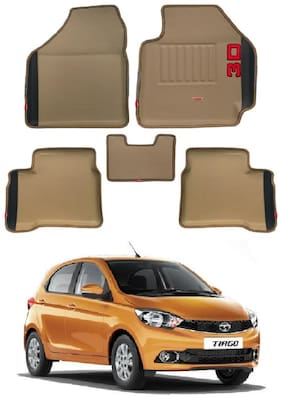 Elegant 3D Diamond Beige and Black Car Mats for Tata Tiago(Set of 5 pc)