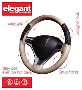 Elegant Beige Car Steering Cover For Mahindra TUV 300