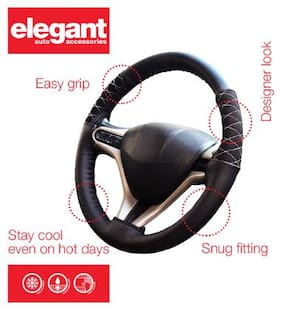 Elegant Black Car Steering Cover For Renault Scala